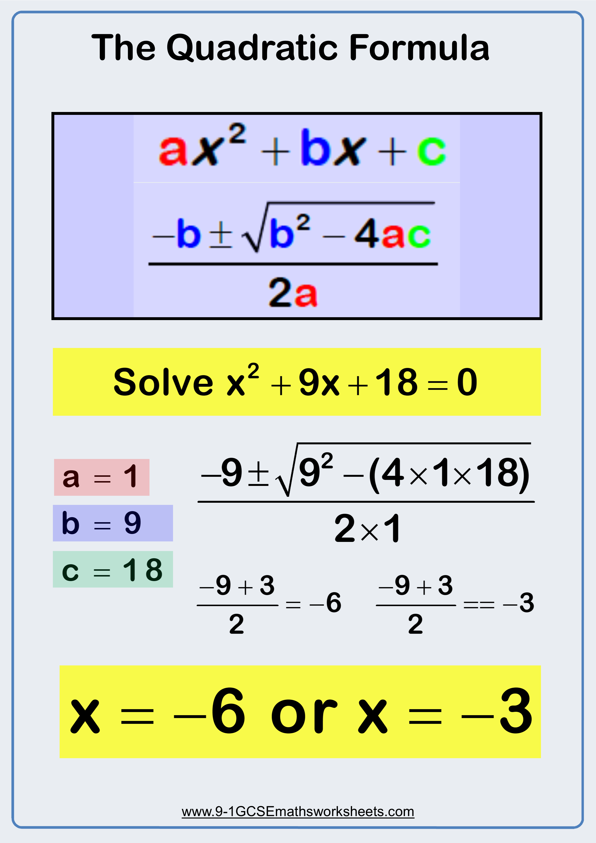 Using The Quadratic Formula Visual