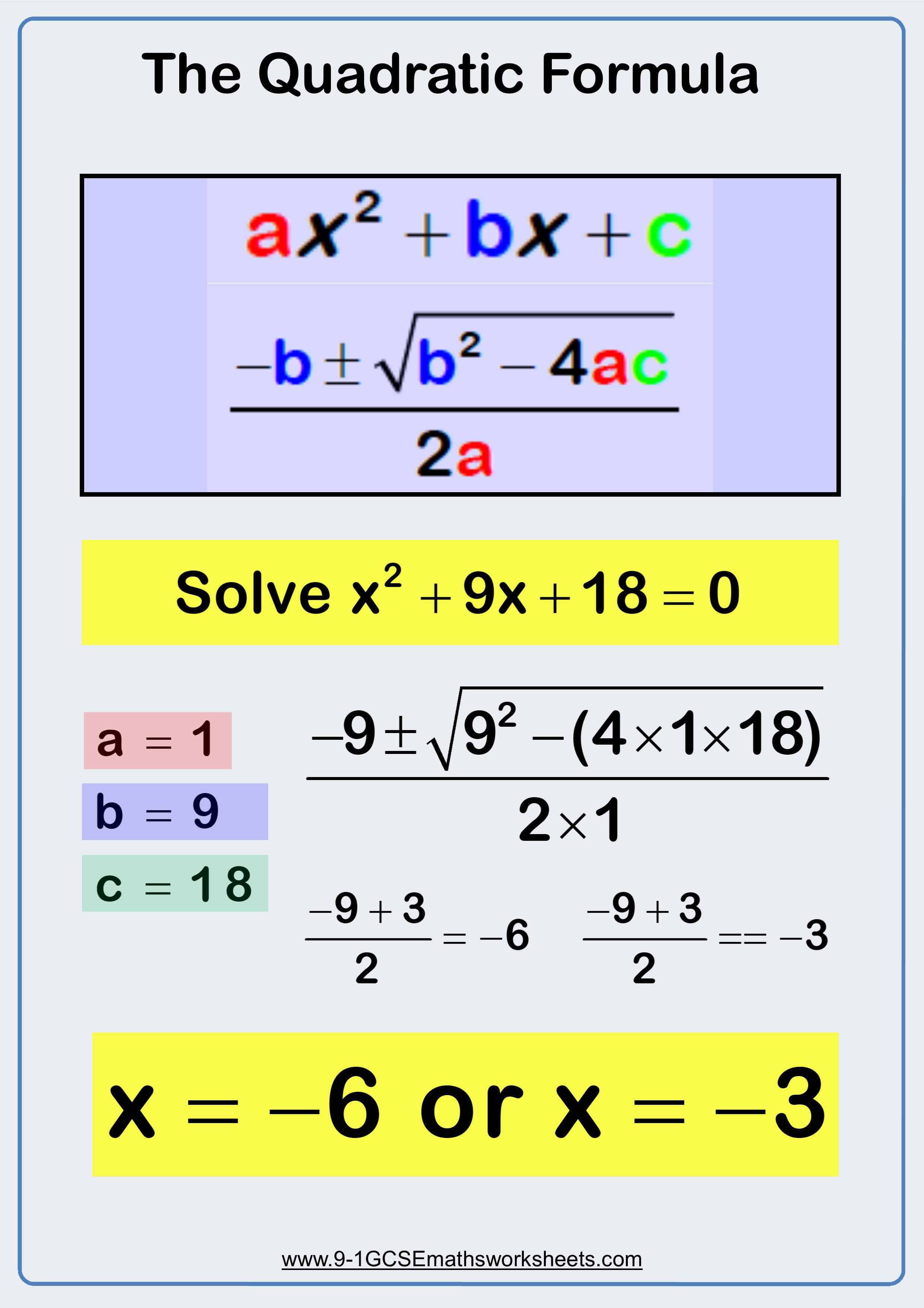 Using The Quadratic Formula Visual