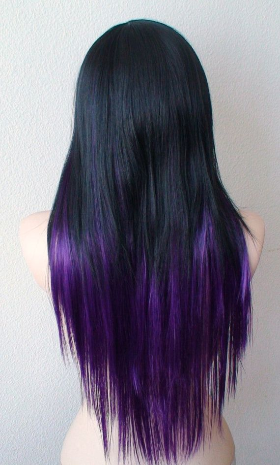 Ombre Wig Black Purple Long Straight Layered Hair By Kekeshop Purple Ombre Hair Ombre Hair Color Long Straight Hair