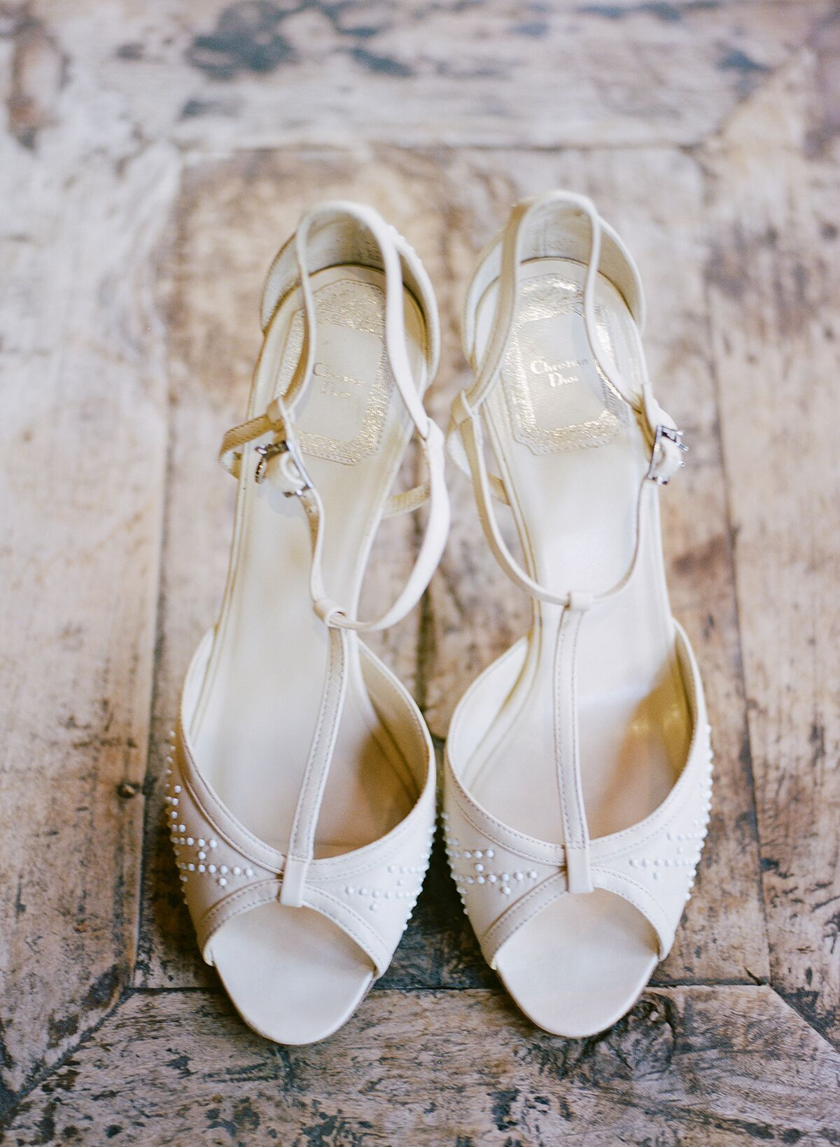 All white wedding heels at Flagler Museum in Palm Beach