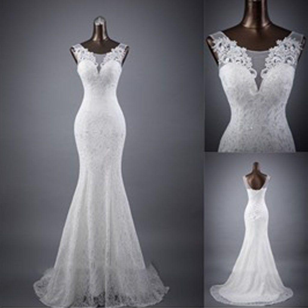Mermaid lace wedding dress  Elegant Sleeveless Mermaid Lace Up Popular White Lace Wedding