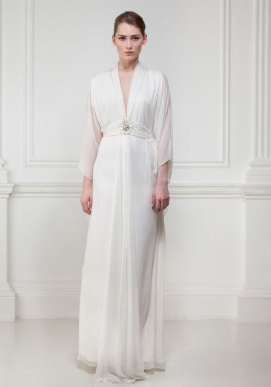 Jenny Packham style Matthew Williamson silk deep v neck wedding ...