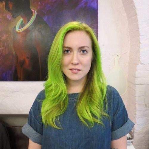 Vibrant Green Neon Holographic Mermaid Hair Seagull Salon West Village Manhattan 10014