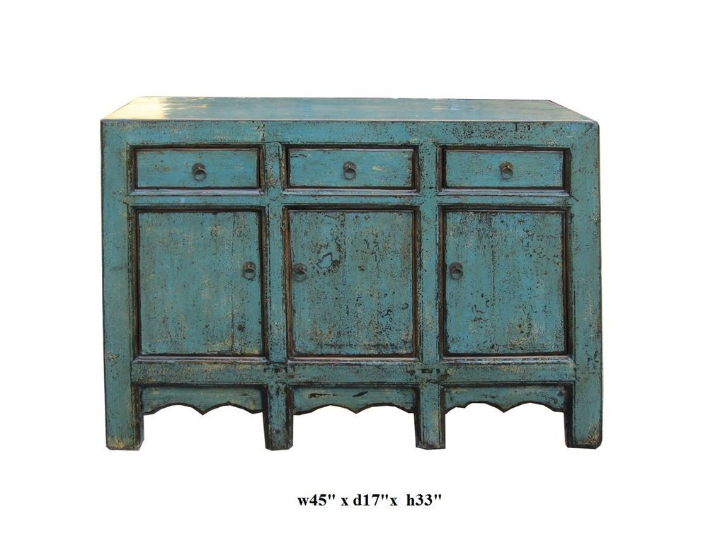 Chinese Rusitc Blue Lacquer Sideboard Buffet Table cs046 #Handmade #RusticPrimitive