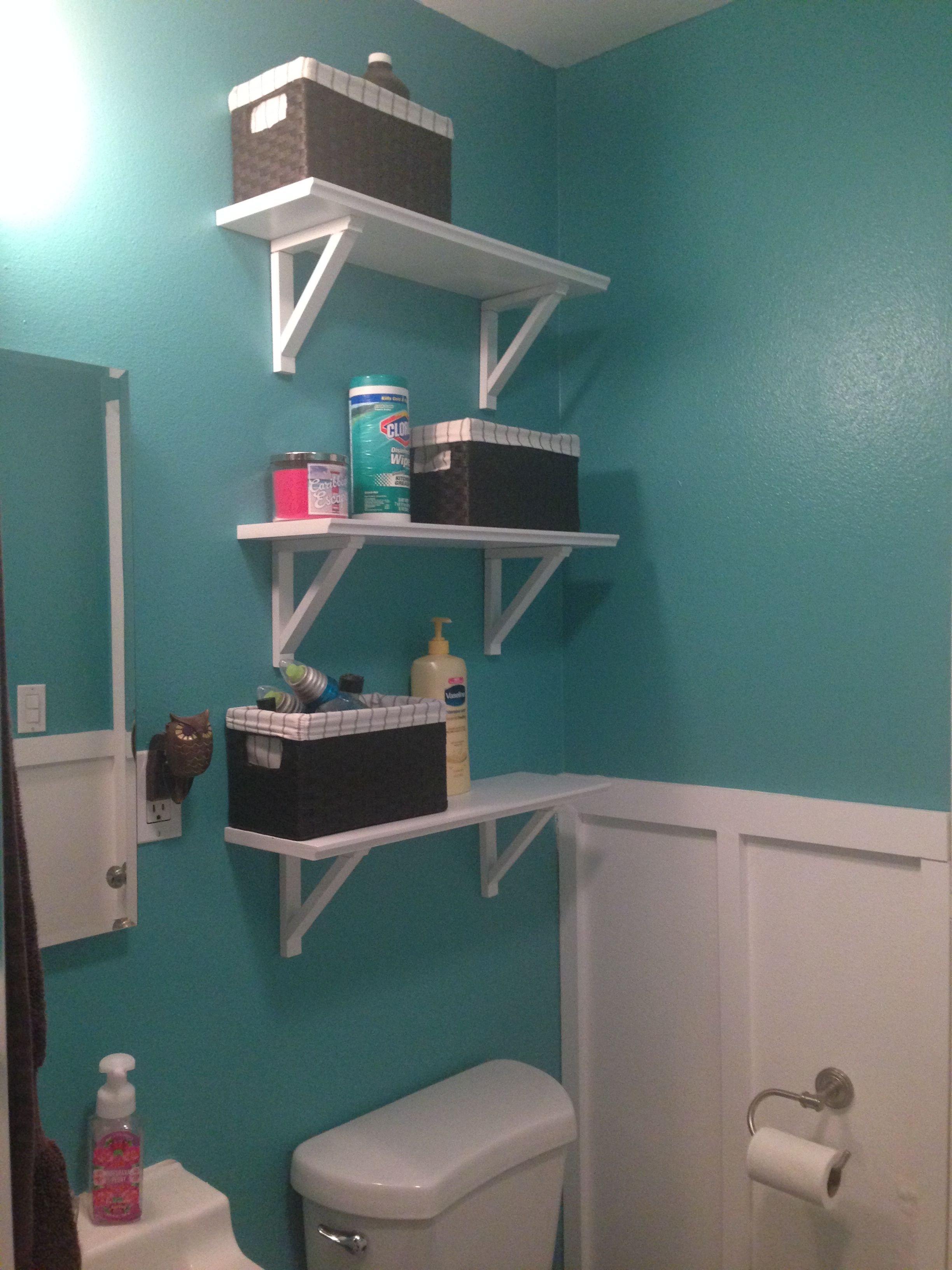 Home Depot Teal Zeal paint, added board and baton and shelves. Small ...