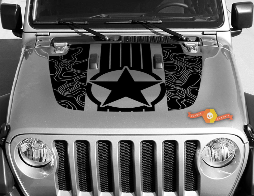 Jeep Gladiator Jt Wrangler Military Star Stripes Topographic Map Jl Jlu Hood Style Vinyl Decal Sticker Graphics Kit For 2018 2021 In 2020 With Images Jeep Decals Jeep Gladiator
