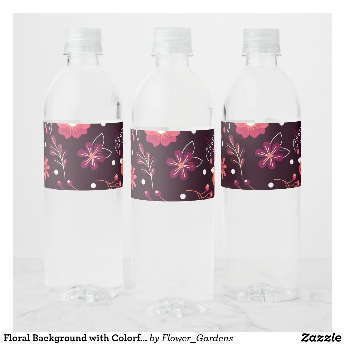 Floral Background with Colorful Flowers Water Bottle Label ...