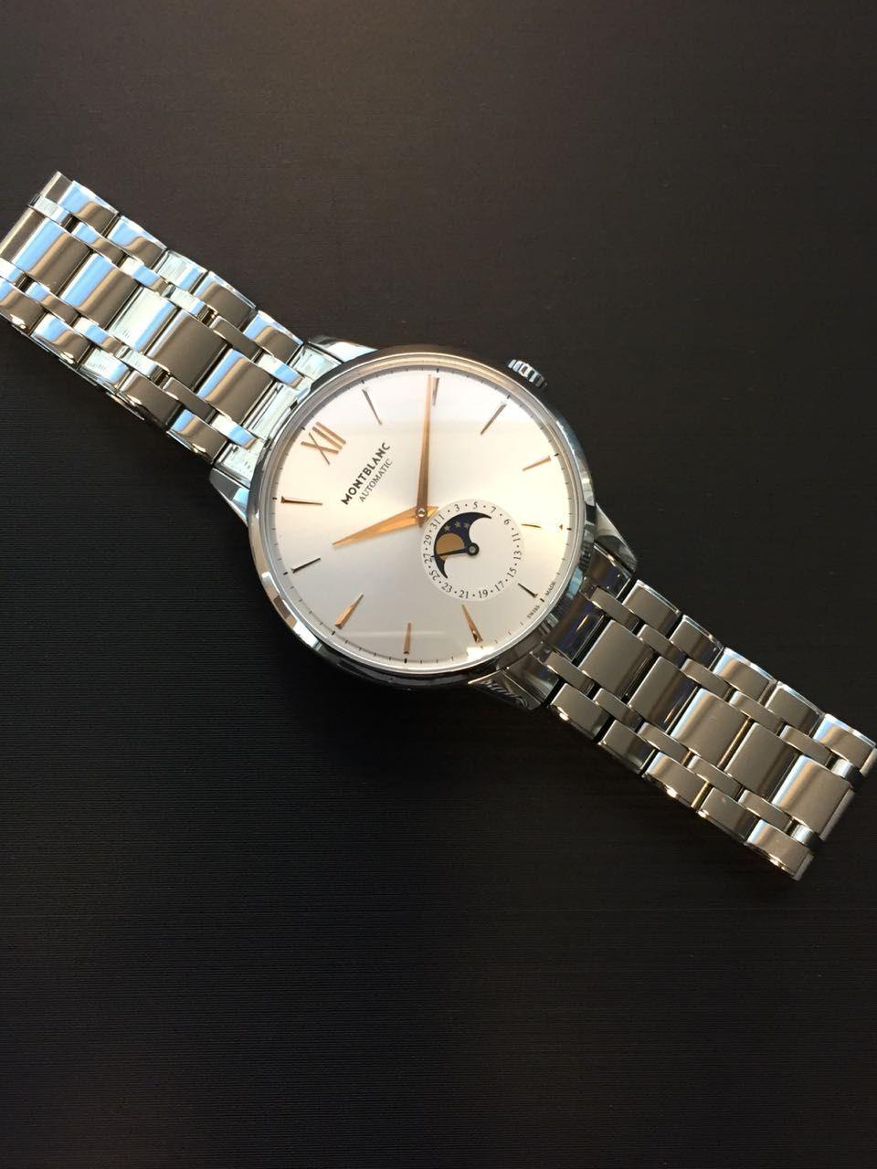 569148c4aac Relógio Montblanc Heritage Spirit Moonphase Ref.  7321. Caixa e Pulseira em  Aço Inoxidável