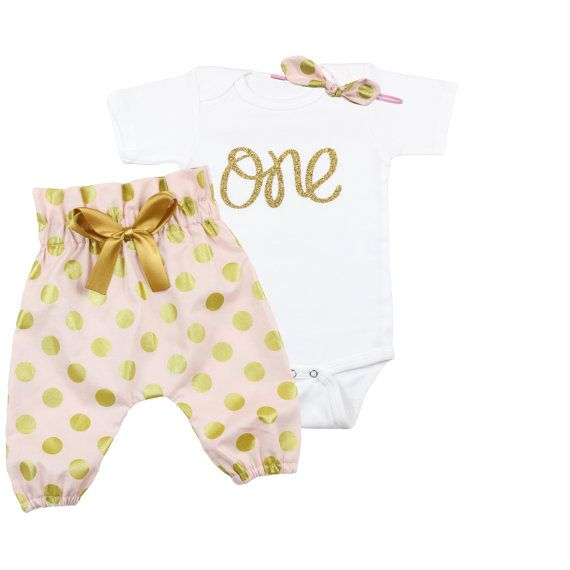 dc35307bd Girls 1st Birthday Outfit Baby Girls First by OliveLovesApple. Pink and Gold  Dot High Waisted Pants ...