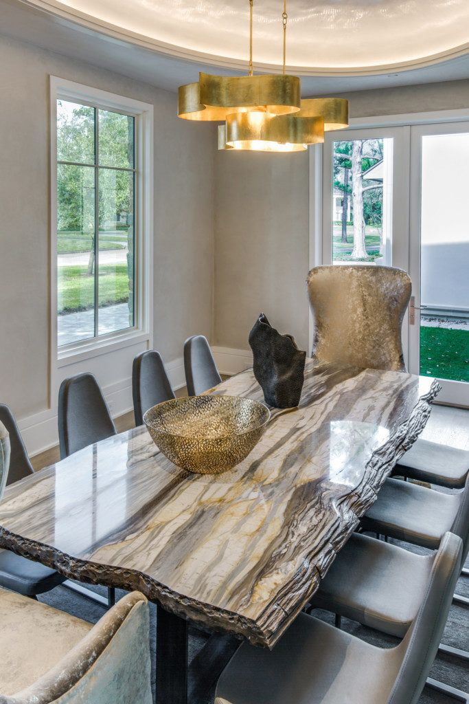 Calacatta Cielo Marble Table and Dining Room