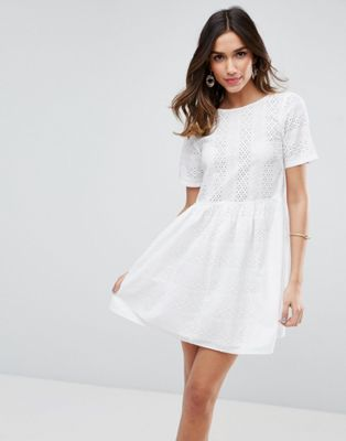 bc29b26a78f23 ASOS Mini Smock Dress In Broderie Asos White Dress, White Eyelet Dress, Lace  Dress