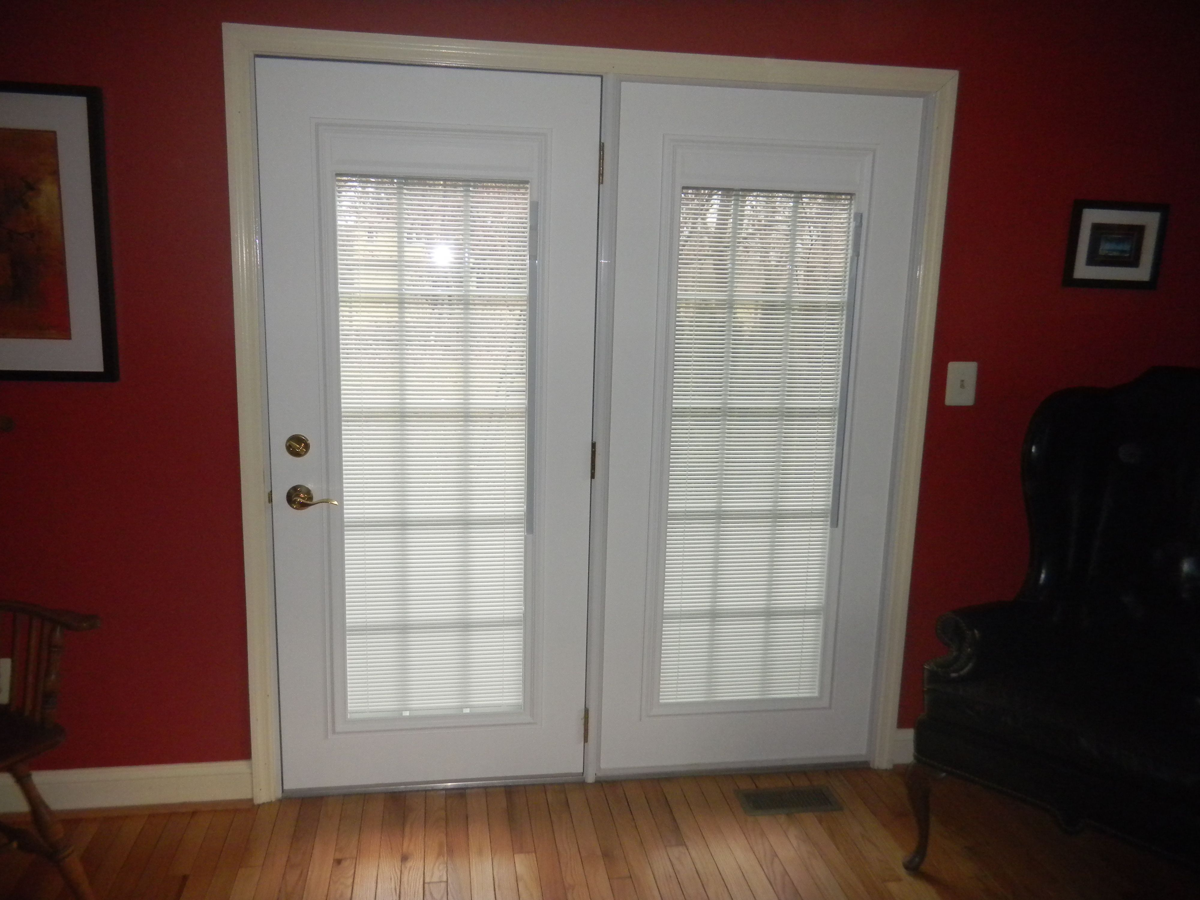 Steel entry doors with blinds between the glass panes with regard to