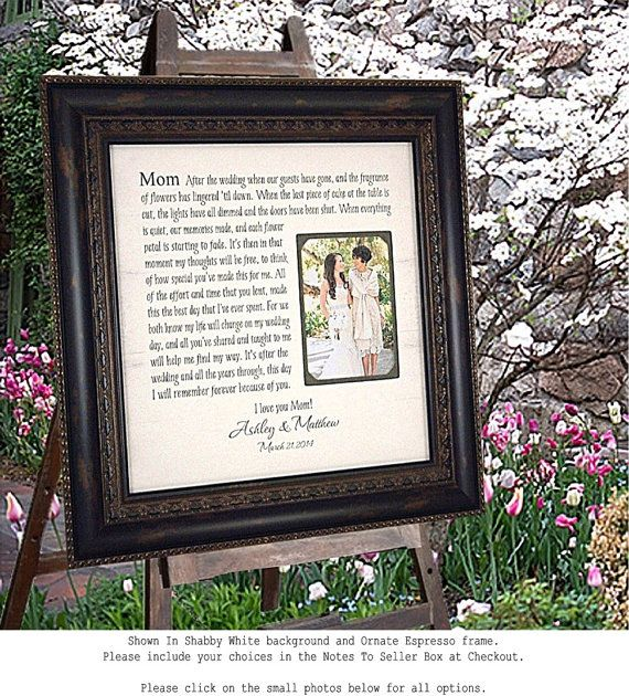 Mother of the Bride Gift, Parents Thank You Mom Dad Wedding Frame ...