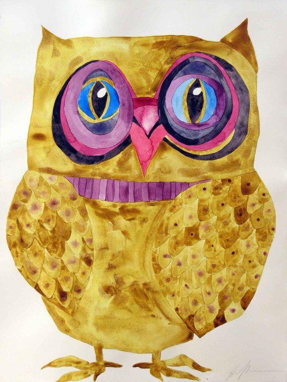 Whimsical art, owl art, original watercolor, whimsical bird art, owl ...