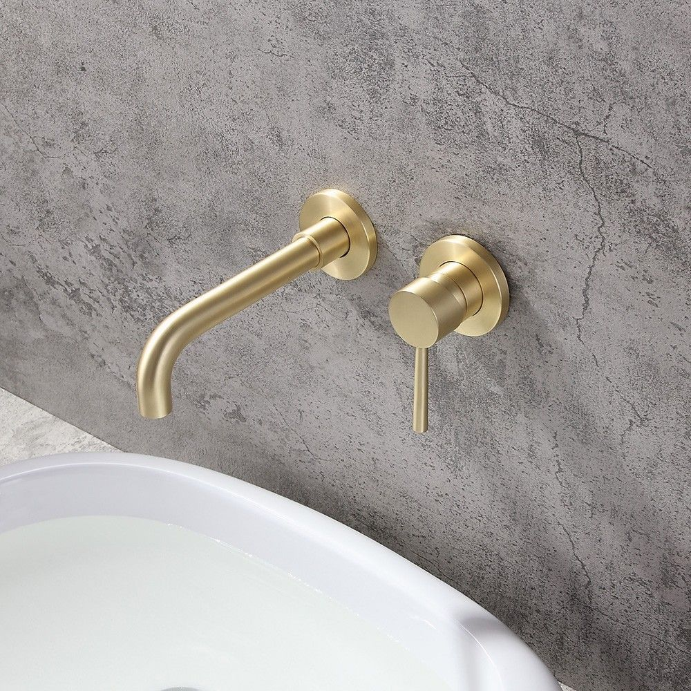 Kingston Brass Classic 8 In Widespread 2 Handle High Arc Bathroom Faucet In Brushed Brass Hfsc1973al The Home Depot Widespread Bathroom Faucet High Arc Bathroom Faucet Kingston Brass