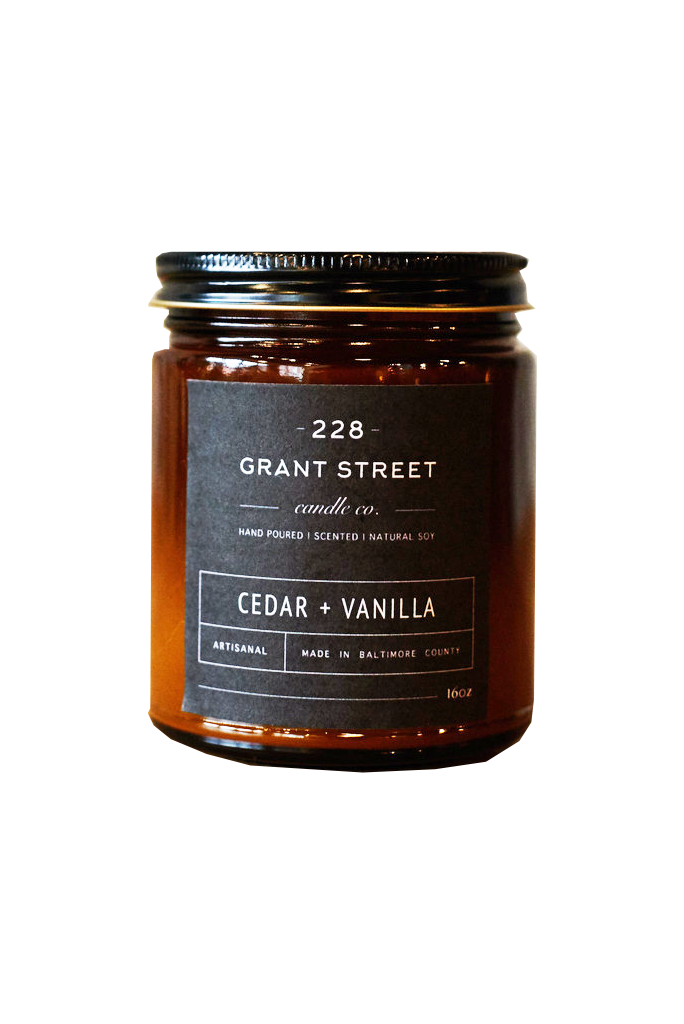Cedar + Vanilla A warm blend of cedar and vanilla blended with the hearty, oak notes of patchouli. White vanilla musk and hints of caramel round out the aromas of smoky wood and spice. Hand-poured in