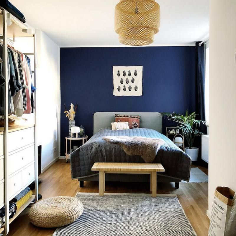 Room Redo Bohemian Inspired Masculine Bedroom With Navy Accent Wall Eclectic Bedroom Home Decor Small Room Bedroom