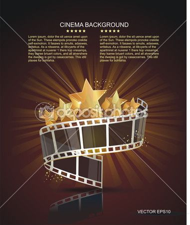 Film Strip Roll With Gold Stars Vector Cinema Background Cinema Film Strip Gold Stars