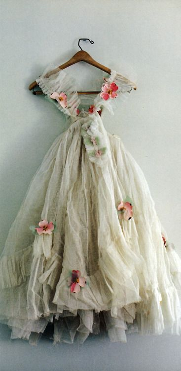 Vintage ballerina dress with hand-made paper flowers.