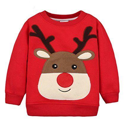 4d329cfc2 Bebé Sudaderas Navidad Camisetas de Manga Larga Sweatshirt Arriba para  Niños Niñas  modainfantil  modanavidad  ropainfantil  ropanavidad