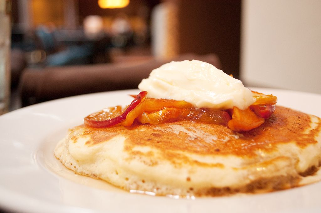 Peach bellini pancakes at local in norman oklahoma food