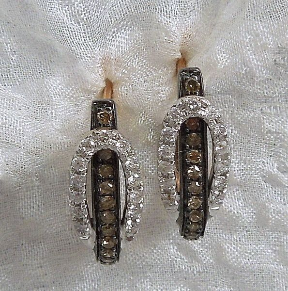 White and Chocolate Diamond Buckle Earrings set in Rose Gold, $1,100.