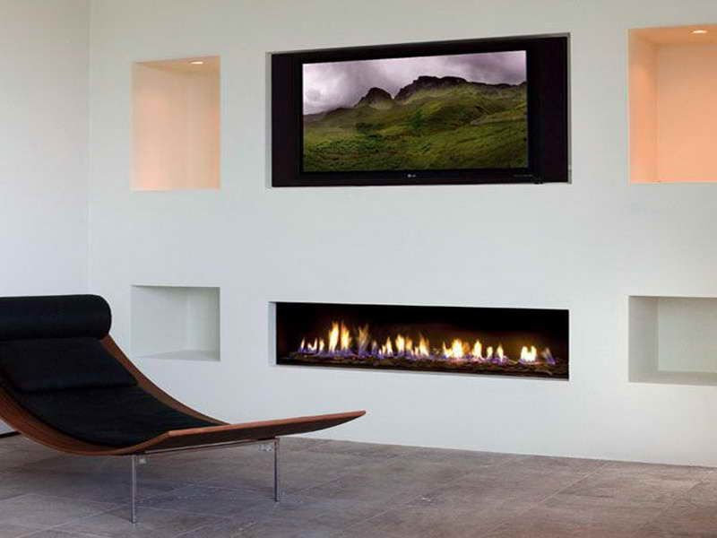 Modern Fireplaces Gas with white wall Wish List Pinterest