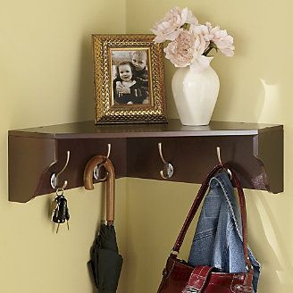 corner shelf with hooks ...for the laundry room (paint ...