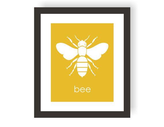 Honey Bee Art Print In Yellow Bumblebee Entomology Science Nursery Decor