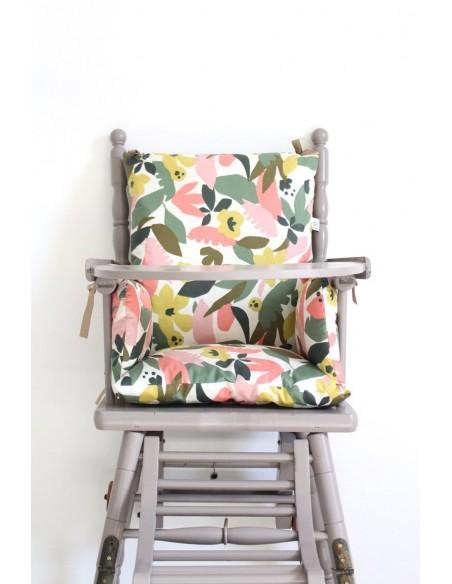 Coussin Chaise Haute Fleurs Kaki Corail En Coton Enduit Pour Bebe