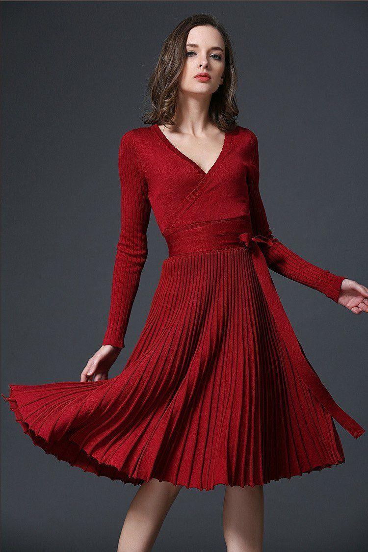 Pure color vneck long sleeves kneelength fashion dress pinterest