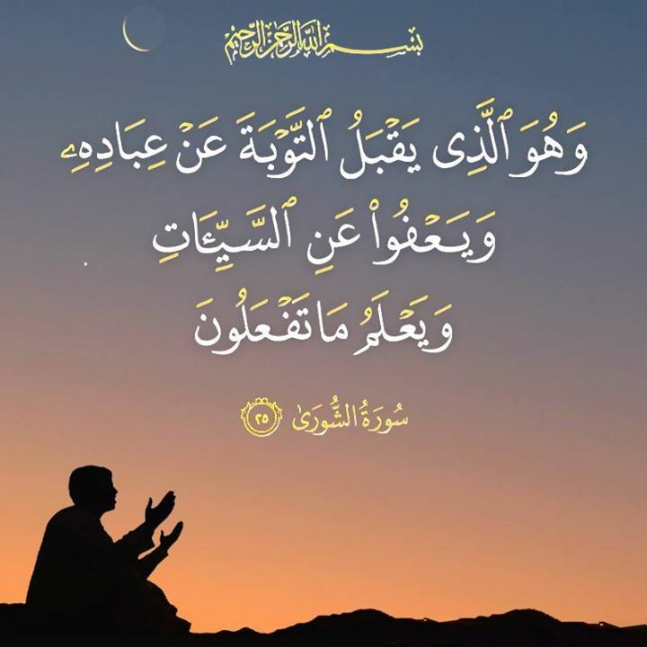 و ه و ال ذ ي ي ق ب ل الت و ب ة ع ن ع ب اد ه و ي ع ف و ع ن الس ي ئ ات و ي ع ل م م ا ت ف ع ل ون الشورى 25 Prayer For The Day Quran Quotes Holy Quran