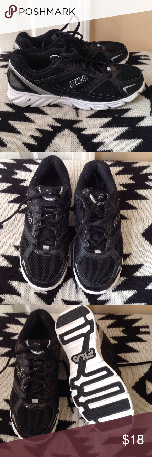 Fila Athletic Shoes Black/white/silver, barely worn (see soles) Fila Shoes Athletic Shoes