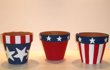 Terra cotta pots for th of july patriotic terra cotta flower