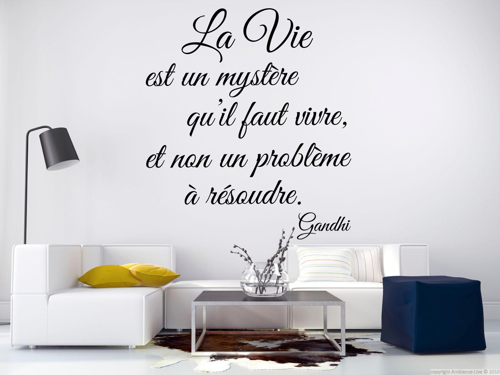 Sticker citation la vie est un myst re gandhi stickers for Collant mural francais