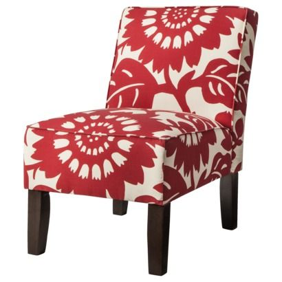 Burke Armless Upholstered Slipper Chair - Red Floral - target.com ...