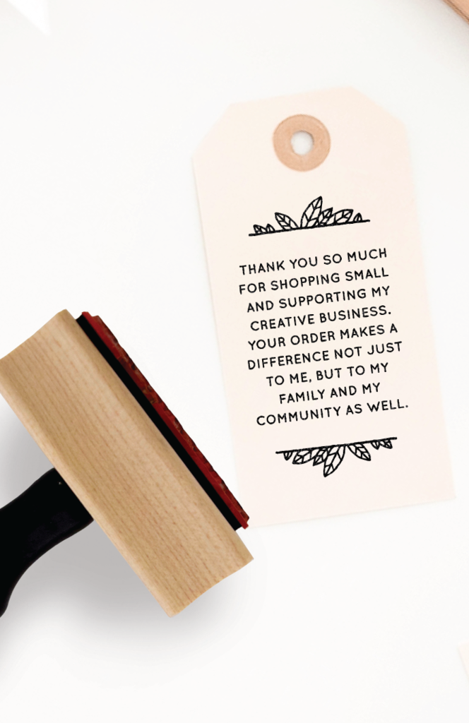 creativepreneur thank you note  rubber stamp for small