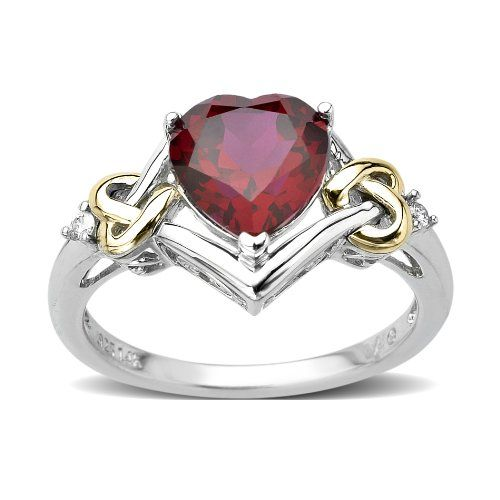Sterling Silver and 14k Yellow Gold Diamond and Heart-Shaped Created Ruby Ring