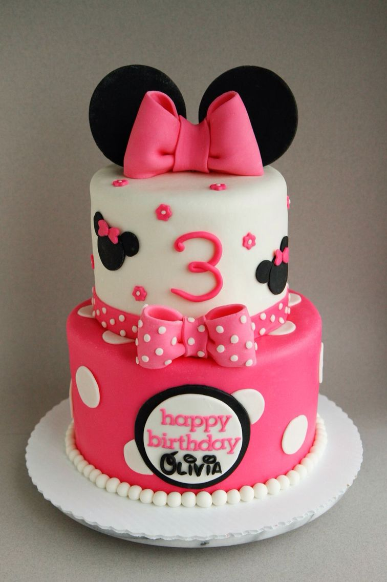 Happy 3rd Birthday Olivia A 6 8 Minnie Mouse Cake Filled With Polka Dots Bows And Lots Of Pink Inside Are Ombre Layers As Well