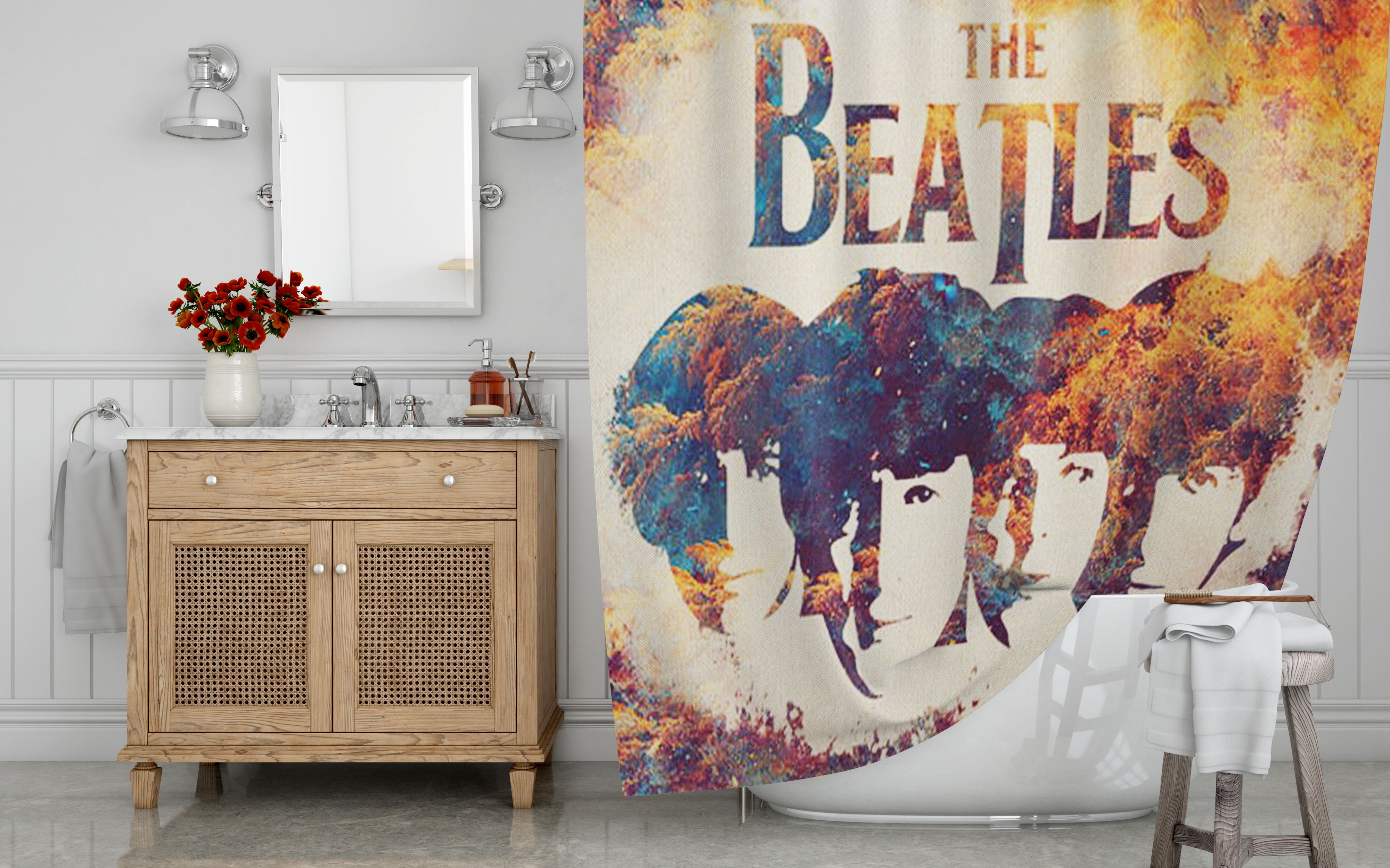The Beatles Shower Curtain With Images Shower Curtain Decor