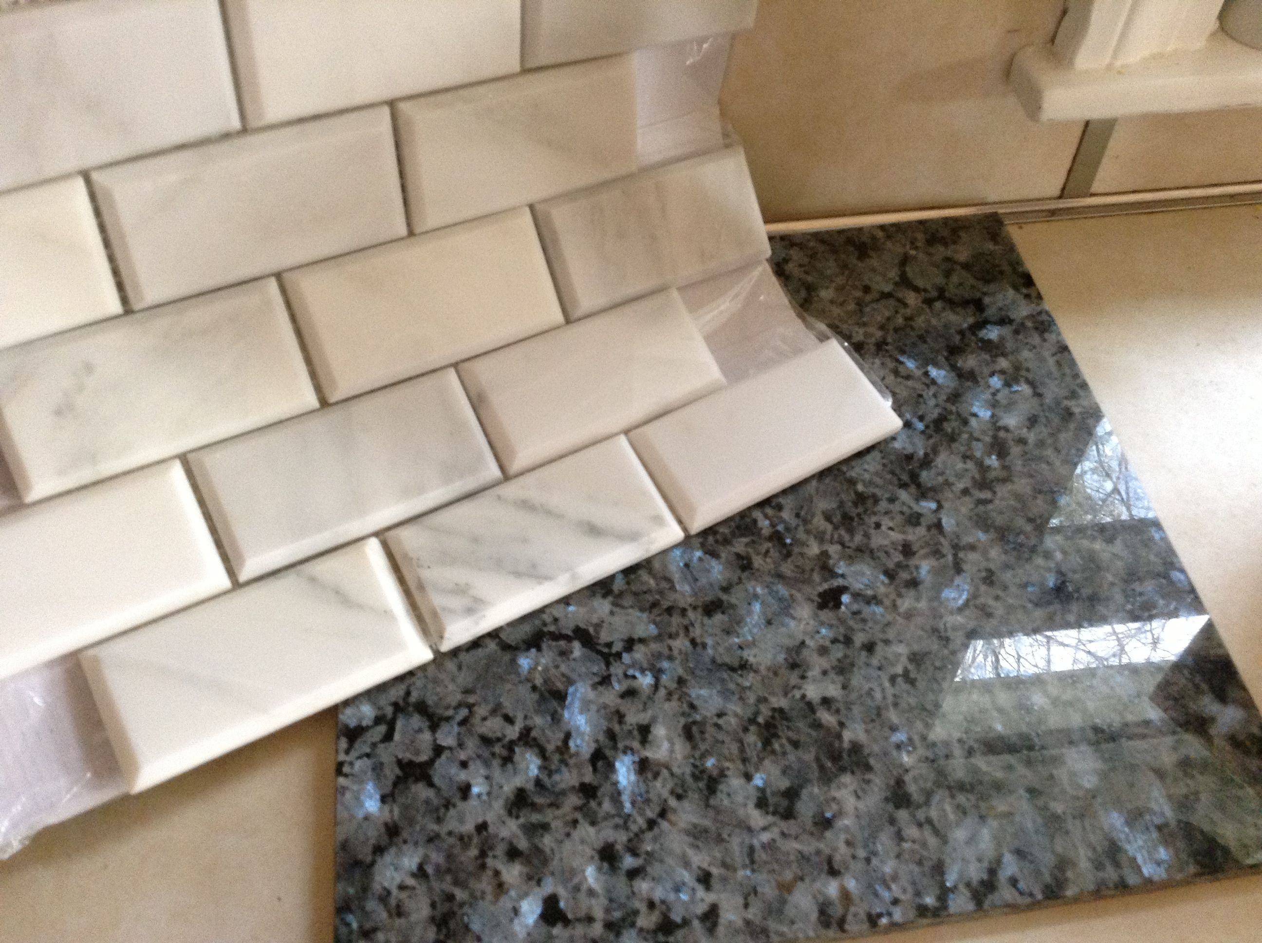 Marble subway tile white & blue pearl granite countertop | Antique ...