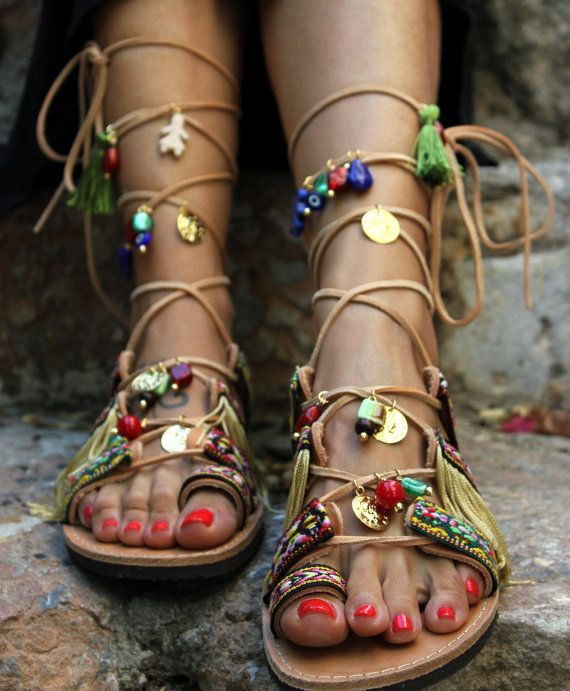 "Tie Up sandals, Gladiator Sandals, Boho Hippie sandals, Women Shoes, Greek Leather Sandals, Handmade to order ""Athena"" 3"