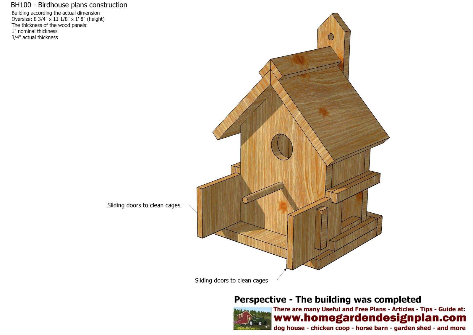 BH100 Bird House Plans Construction Bird House Design