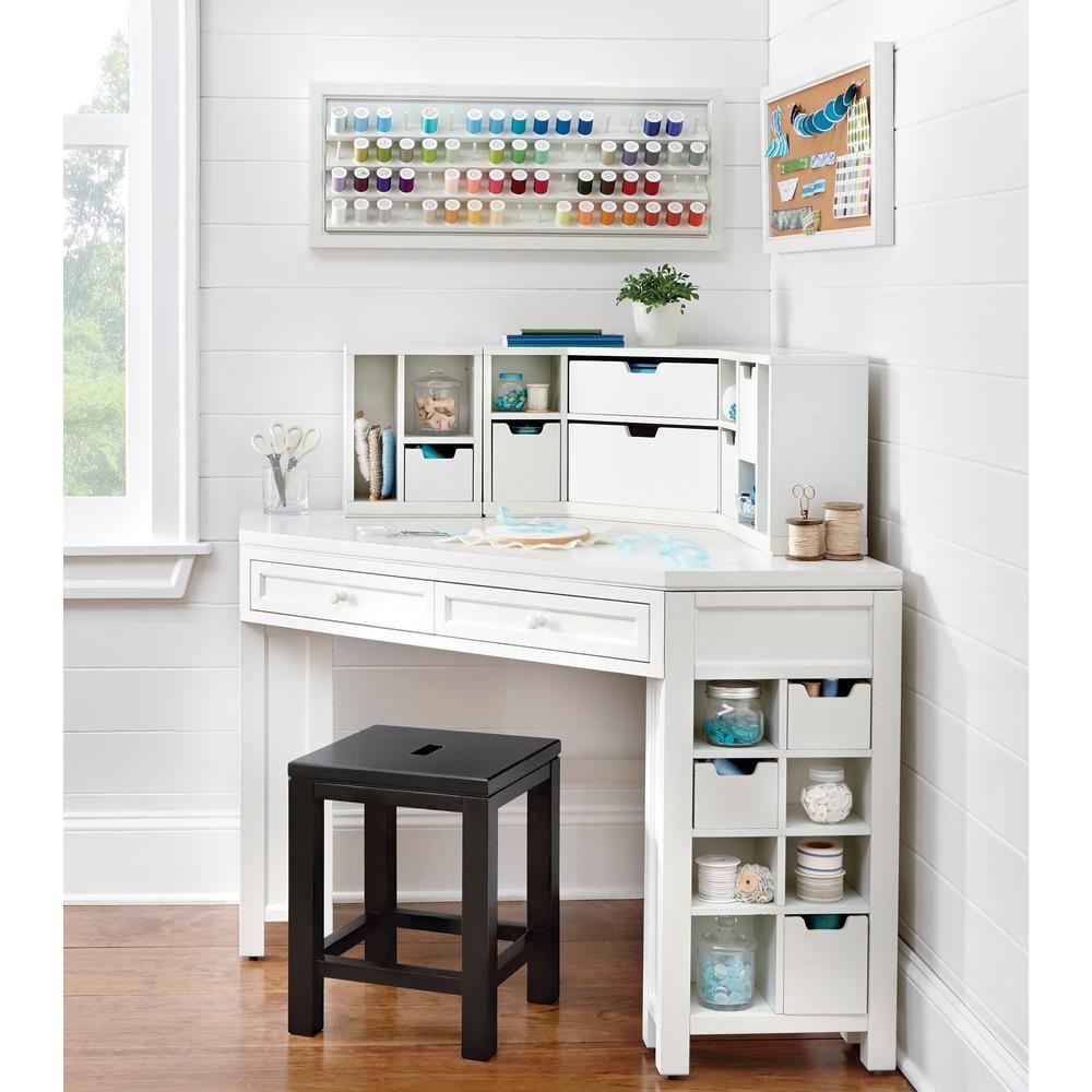 Martha Stewart Living Craft Space Picket Fence White Corner Craft Table With Storage 0795200400 Th Desks For Small Spaces White Corner Desk Small Corner Desk