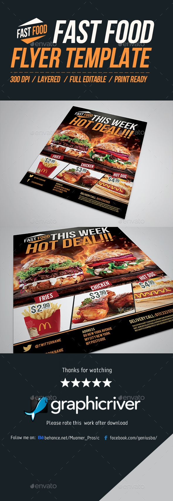 Fast Food Flyer Template  Flyer Template Template And Magazine Ads