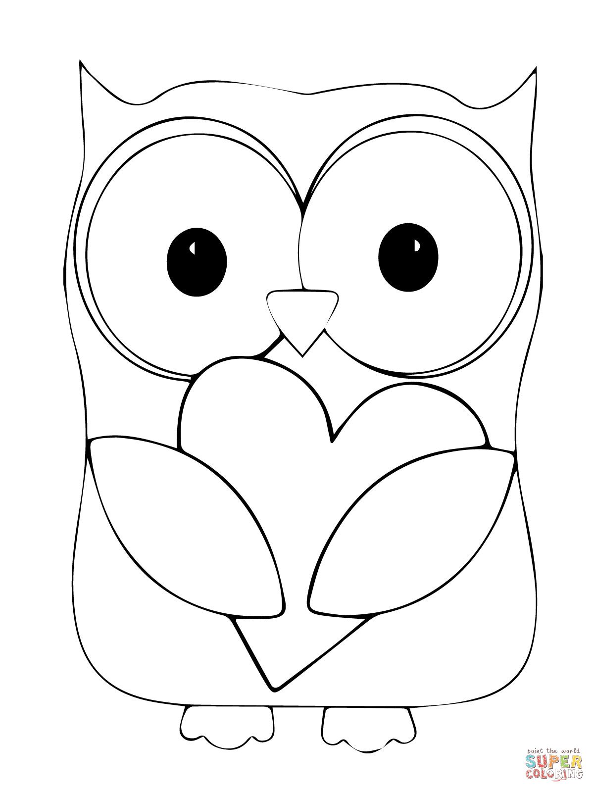 Valentin Day Owl Hugging A Heart Coloring Page 1200×1600