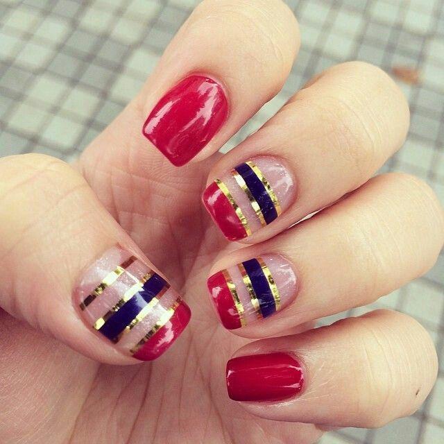 Red blue and gold nautical nailart #nailart #nails #summer #red #blue #gold #nautical