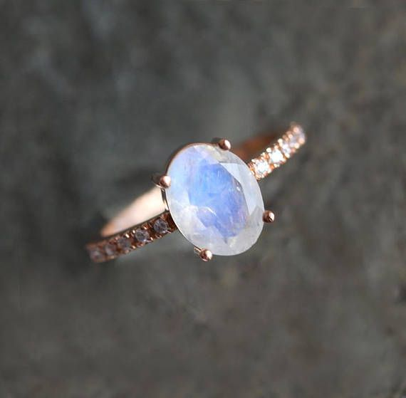 051efef3cf2a9 Oval Moonstone Ring with pave Diamond band, Oval Rainbow Moonstone ...