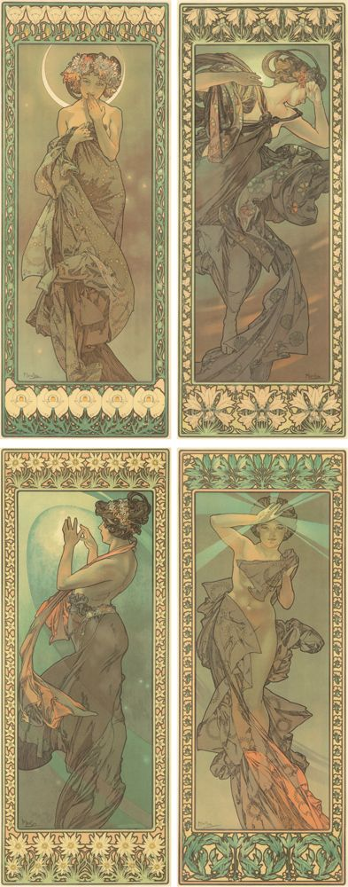 Alphonse Mucha, 'The Stars', 1902. Vintage poster in Art Nouveau style.