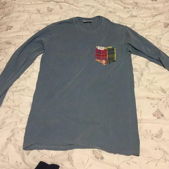 Frat collection tshirt Grayish blue pocket tee Tops Tees - Long Sleeve